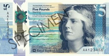 Nan Shepherd on the Scottish £5 note.