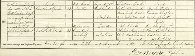 Marriage entry of Christmas W Sparks and Isabella Clark, 20 August 1860