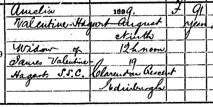 A detail from Amelia Valentine Hagart's death entry