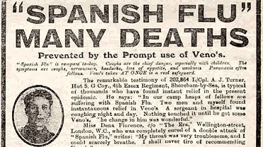 Detail from a Veno's advert promoting their ability to cure the symptoms of influenza. 13 November 1918.
