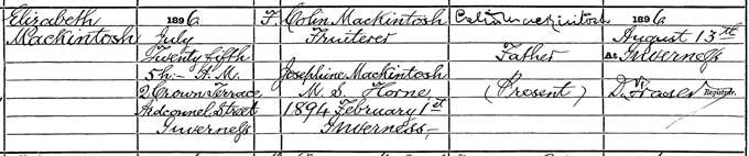 Elizabeth Mackintosh's birth entry, 25 July 1896