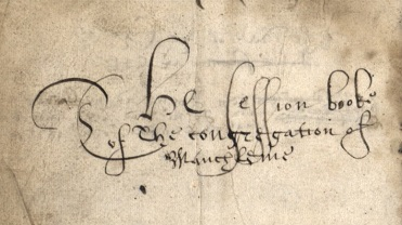 Image with the handwritten words 'The Session book of the congregation of Mauchline'.