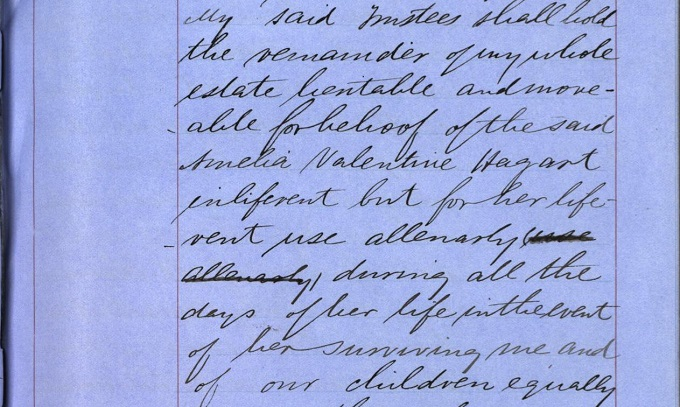 Detail from James Valentine Hagart's will granting Amelia control over the family estate 'during all the days of her life'.