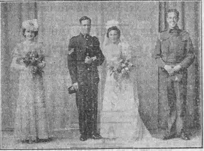 Bombardier Victor George Horton, Royal Artillery and Elizabeth Reid Duncan Jack on their wedding day.