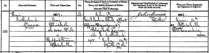 Birth entry of Eric Lomax