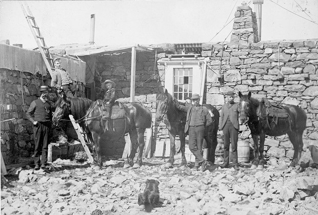 Ponies, four males, a child and a dog outside the Observatory. Inscribed 'Ben Nevis Cavalry'