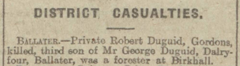 Death notice of Private Robert Duguid in the Aberdeen Evening Express - Sunday 16 June 1917