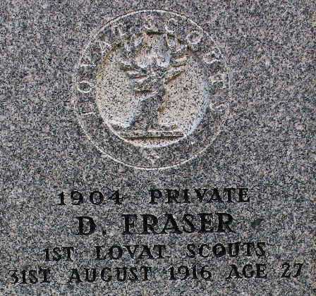 Detail from Donald Fraser's headstone
