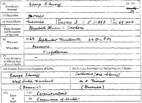 Death entry of George Sherriff, 13 September 1967