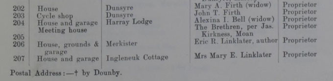 Detail of the 1935 valuation roll entry listing Eric Linklater as the owner of the unfinished house in Merkister