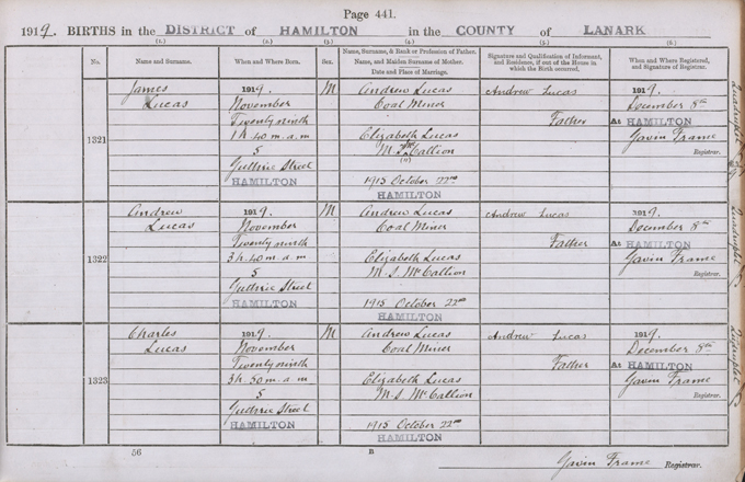 Image of the birth entry of James, Andrew and Charles Lucas, 29th November 1919