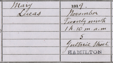 Detail from the birth entry of Mary Lucas, 29th November 1919