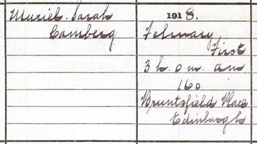 A detail from the birth entry of Muriel Camberg
