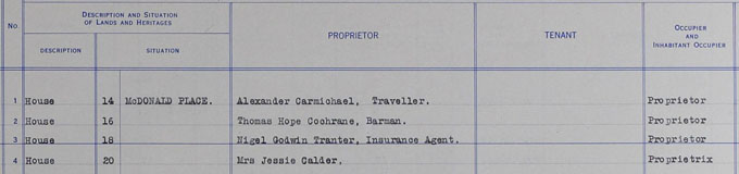 Detail of the 1935 valuation roll entry listing Nigel Godwin Tranter as Proprietor of 18 McDonald Place