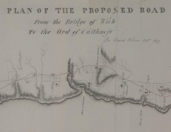 Detail from a plan of a proposed road from the Bridge of Wick to the Ord of Caithness, 1807
