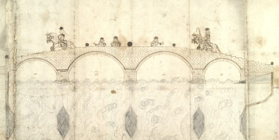 Drawing of a bridge intended to be built at Dumbarton, 1684