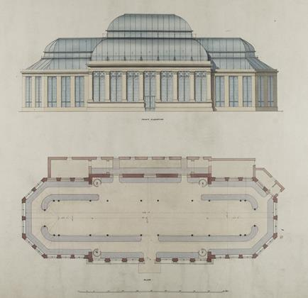 New Palm House, Royal Botanic Garden, Edinburgh: front elevation and plan, 1854