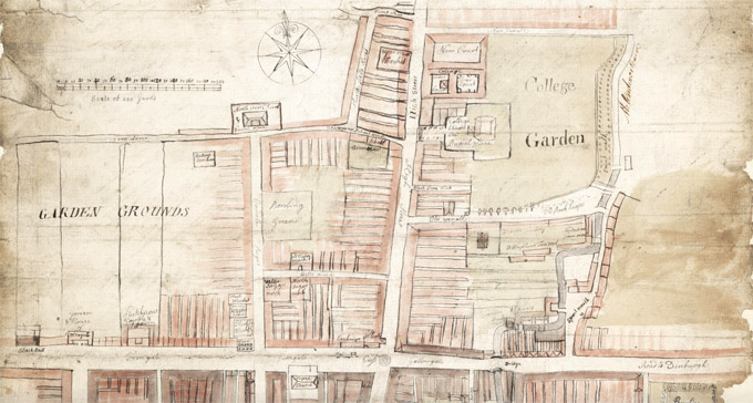 Detail from a plan of part of the city of Glasgow exhibiting the course of the Rivulet Molendinar, Glasgow, 1764