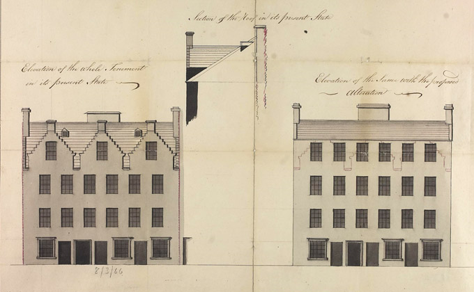Elevation of a tenement in King Street, Glasgow, 1799