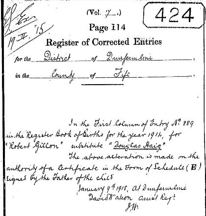 Register of Corrected Entries altering Robert Gillon Burnett's name