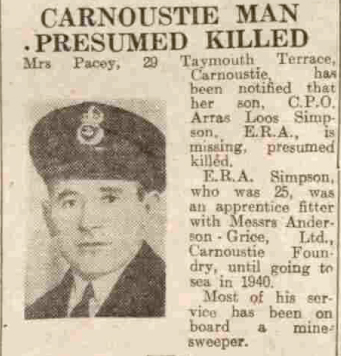 The death notice of Arras Loos Simpson