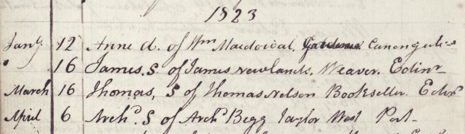 Baptism entry of Thomas Nelson junior, 1823