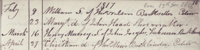 Baptism entry of William Nelson, 1817