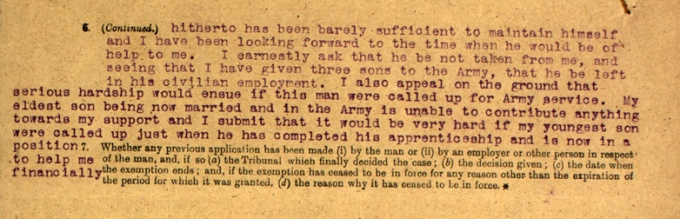 Detail from James Miller's Military Service Appeal Tribunal papers