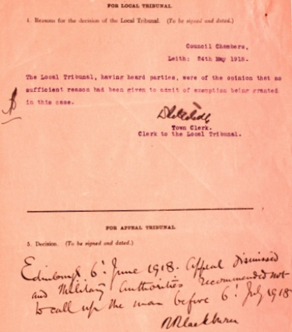 Detail from John William McDiarmid's Military Service Appeal Tribunal papers