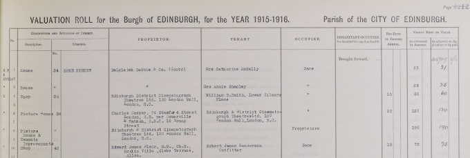 Valuation roll listing the Cameo Cinema in Edinburgh, 1915