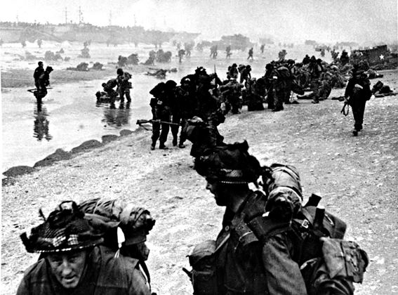 British soldiers on a Normandy beach on D-Day, 1944