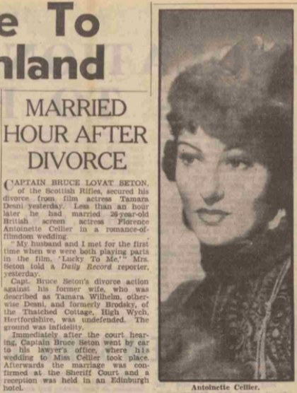 Article reporting on the marriage in the Daily Record, 15 February 1940