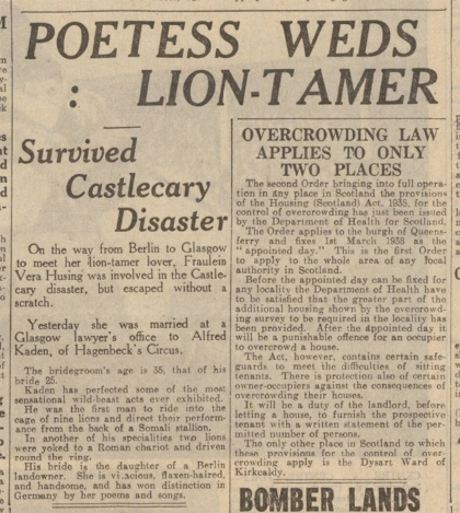 Newspaper report on the wedding of Alfred Kaden and Vera Husing – The Dundee Courier, 6 January 1938