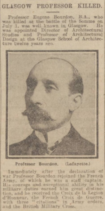 Obituary notice, 'The Daily Record', 13 July 1917