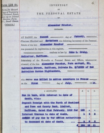 Inventory of Alexander Proctor's estate, 1917.