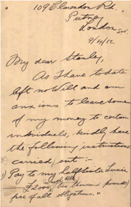 Letter by Robert Douglas Norman on 9 April 1912