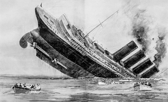 An illustration of the sinking of the Lusitania
