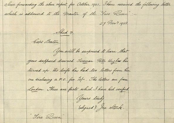 The letter informing the master of the 'Fire Queen' that Peter Hughes was alive.