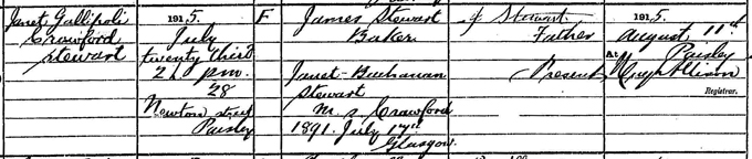 Birth entry of Janet Gallipoli Crawford Stewart, 23 July 1915