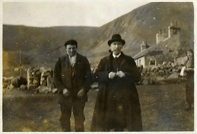 Dugald Maclean, United Free Church missionary and Registrar of St Kilda with a young islander, April 1911