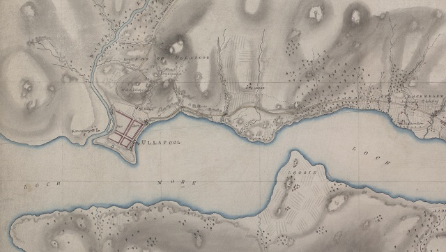 Detail of Brown's intended road between Dingwall and Ullapool, 1790