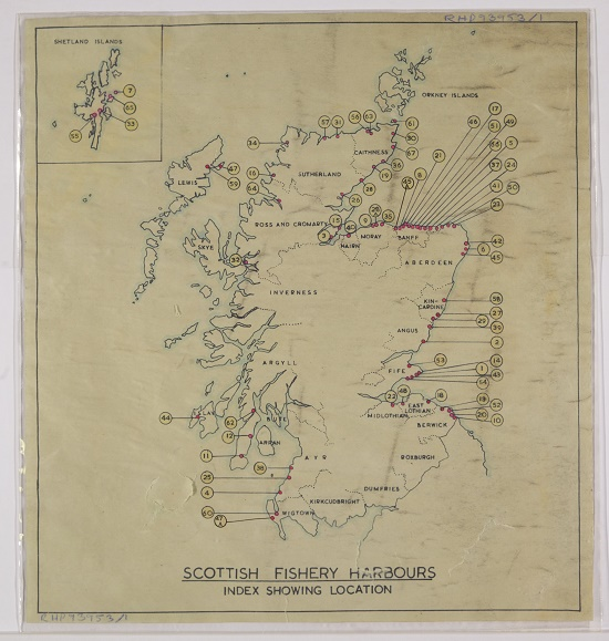 Plan created by the British Fisheries Society, noting locations of fishery harbours in Scotland [mid-twentieth century]