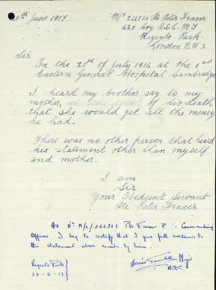 The letter written by Donald's brother, Peter Fraser