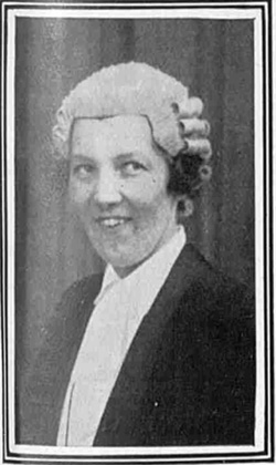 A photograph of Margaret in her wig and gown