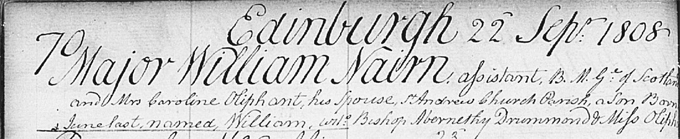 Image of the birth entry of William Nairne