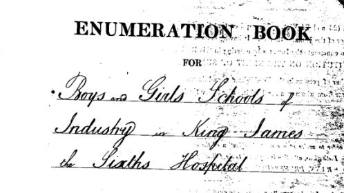 Detail from title page of 1861 enumeration book for an institution