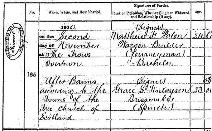 Detail from statutory marriage record with RCE