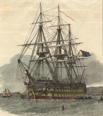 Illustration of HMS Hercules anchored at the port of Campbeltown, Argyllshire