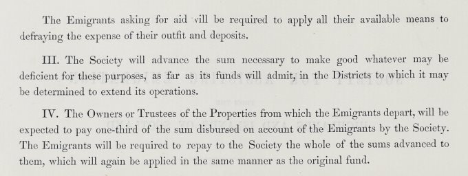 Extract from Rules for Assisting Emigration from the Highlands and Islands of Scotland