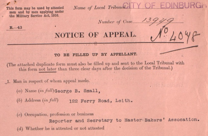 Detail of George Bruce Small's military appeal, 1917 (National Records of Scotland, HH30/18/3/12, page 1)